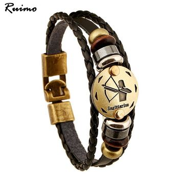 12 constellations Alloy Zodiac Sings Leather Bracelets Men's Beaded Fashion Jewelry Casual Personality Vintage Punk Bracelet