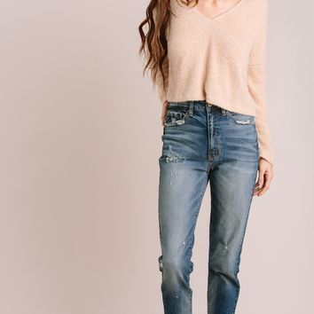 Ronnie V-Neck Cropped Sweater