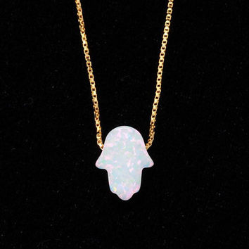 Lucky White Opal Hamsa Hand Gold Necklace