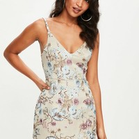 Missguided - Nude Strappy Floral Jacquard Dress
