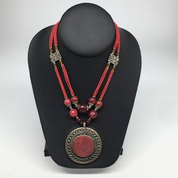 Turkmen Necklace Afghan Antique Tribal Fashion Multi Strand Beaded Necklace S138