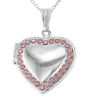 """Pink Crystal Photo Love Heart Locket Pendant Necklace for Girls 19"""""""