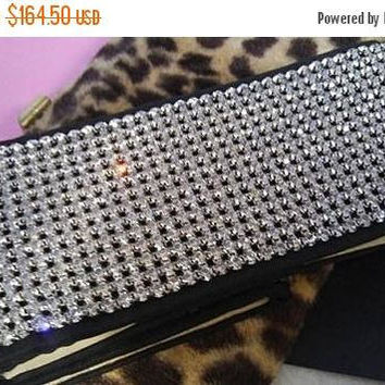 On Sale Vintage Collectible Rhinestone Belt 1950's 1960's Jewelry Old Hollywood Glam Mad Men Mod Mid Century Size 28 High End Accessories