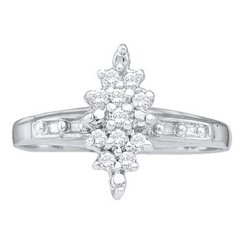 10kt White Gold Women's Round Diamond Marquise-shape Cluster Ring 1/10 Cttw - FREE Shipping (US/CAN)