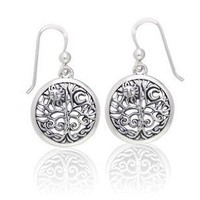 Amazon.com: Ancient Tree of Life with Sun and Moon Symbol Round Filigree Sterling Silver Earrings: Jewelry