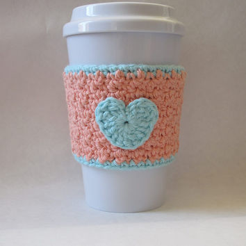 Crochet Heart Coffee Cup Cozy Peach and Robin's Egg Blue