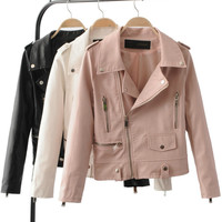 New Women's Autumn Winter Fashion Leather Jackets Lady Long sleeve Slim Pink White Motorcycle Pu Coats Outerwear