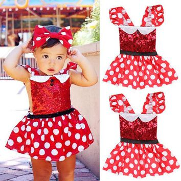 Polka Dot Kids Baby Toddler Girls Clothing Dresses Backless Red Sleeveless Princess Party Dress Girl Clothes