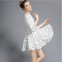 White Printed Sleeve A-Line Dress
