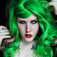 POISON KISS wig // Lime Green Cotton Candy Pink Hair // Wavy Lolita Cyber Goth Emo Halloween