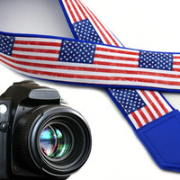 American flag camera strap. US flag camera strap. DSLR / SLR Camera Strap. Etsy Finds.