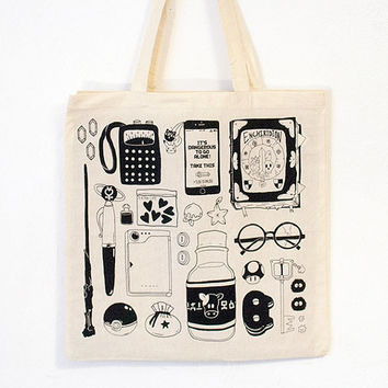 shop screen printed tote bag on wanelo