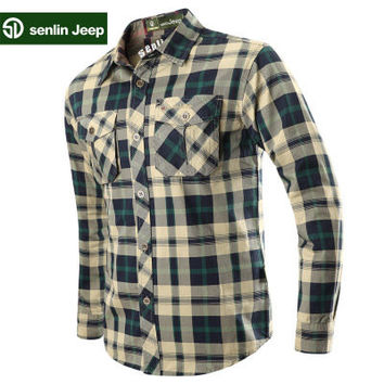 senlin Jeep Plus Size Mens Plaid Shirts Casual Cotton Long Sleeved Shirts