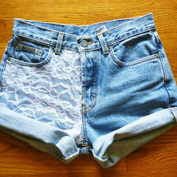 Vintage High Waisted Lace Accented Jean shorts