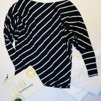 Women's Ribbed Knit Dolman Top Navy and White Plus Size