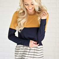 Long Sleeve Colorblock Top ~ Mustard & Navy