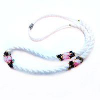 Vintage Bead Necklace, Hematite, White Pearl / Pink Glass
