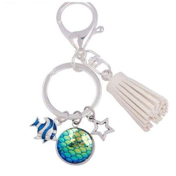 Mermaid Tail Keychain Tassel Star Rhinestone