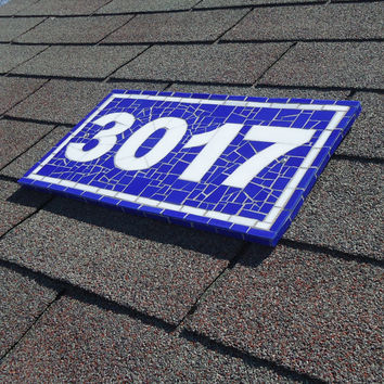 House Number Plaque in Blue and White Stained Glass Mosaic Tiles