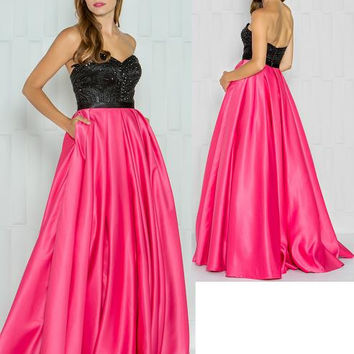 Colors 1683 Strapless Beaded Top Satin Skirt Prom Evening Dress