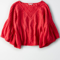 AE Ruffle Bell Sleeve Top, Red