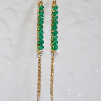 Emerald Green Onyx Wire Wrapped Bar Earrings Kaya Jewelry