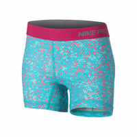 Nike Girls' NP GFX Boy Short - Blue Patterned