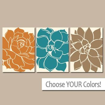 Succulent KITCHEN Wall Art, Flower Decor, Matching Bedroom Pictures, CANVAS or Print, Teal Orange Brown, Bathroom Decor, Set of 3 Wall Decor