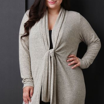Knotted Front Waist Tie Marled Cardigan