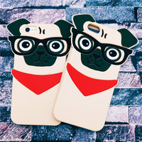 Hot New 3D Lovely Cartoon Handsome Glasses Dog Funda Capa Soft Silicone Phone Cases Cover For iPhone 5 5G 5S SE 6 6G 6S 6Plus