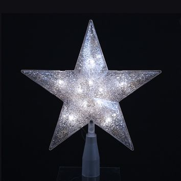 """9"""" Lighted Silver Glittered 5-Point Star Christmas Tree Topper - Clear Lights"""