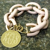 Monogrammed Pink Chain Length Enamel Bracelet | Marley Lilly