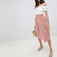 ASOS DESIGN Tall cotton midi skirt with button front in stripe at asos.com