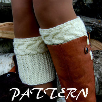 KNITTING PATTERN - Women' Cable Knit Boot Cuff  Pattern