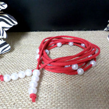 6 Wrap Boho Red Suede Leather White Pearl Multi Wrap Bracelet, Lariat Choker Necklace, Anklet - Pick COLOR / LENGTH Usa Seller, gift