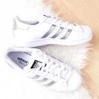 """""""Adidas"""" Fashion Shell-toe Flats Sneakers Sport Shoes White sliver line"""