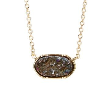 Druzy Oval Mini Pendant Necklace