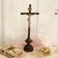 Vintage aged Jesus Christ wood standing cross crucifix French country shabby chic distressed crucifix