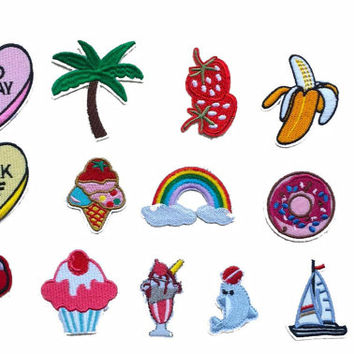 16Pcs Iron On  DIY Patch Set - Coconut Palm Tree Banana Strawberry Ice Cream Cup Cake Donuts Rainbow Sailboat Cactus Popcorn Mushroom Patch