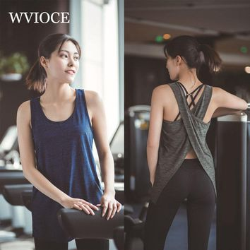 Women Fitness Yoga Top Back Cross Sleeveless Sport T-Shirt Sports Gym Shirts Workout Running Tank Tops Quick Dry Fitness Clothes