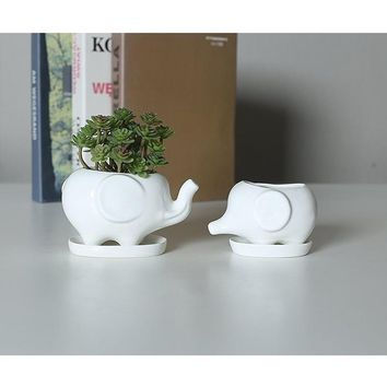 Set of 2 Cute Elephant White Ceramic Flower Pot with Tray