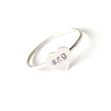 Personalized Heart Initial Ring Sterling Silver