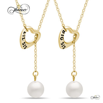 Sister Lariat Heart Necklace Set for Big Sis Lil Sis, 925 Silver, 14K Gold Plated Freshwater Pearl Necklace