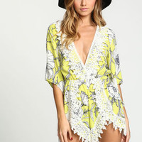 Yellow Crochet Trim Floral Romper - LoveCulture