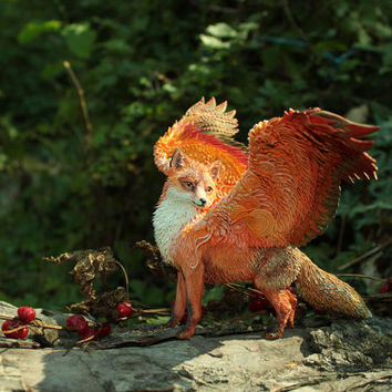 Winged Red Fox Animal Totem Figurine Sculpture Animal Fantasy Art magic spirit amulet