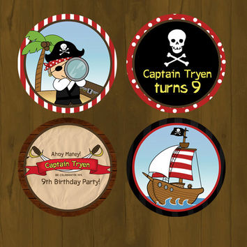 Pirate and Pirate Ship Cupcake toppers with Free Cupcake Wrapper