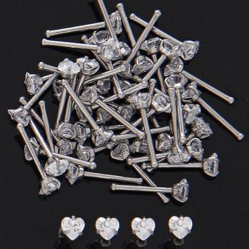 ac DCCKO2Q 20pcs Stainless surgical steel 20gauge 3mm Heart Prong Set Nose Bones zircon nose bones nose ring piercing