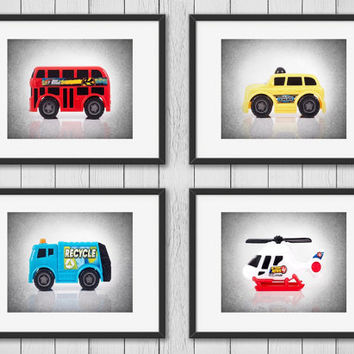 Set Of 4 Transportation Cars Photo Printboys Room Decorcity Ca