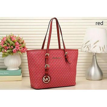 MK Trending Women Stylish Signature Leather Handbag Tote Satchel Shoulder Bag Red