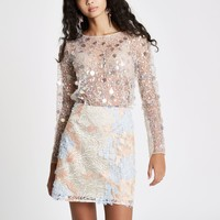 Cream sequin embellished mesh top - Blouses - Tops - women